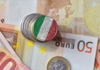 euro coin with national flag of italy