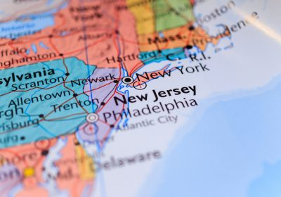 new jersey pinpointed on map