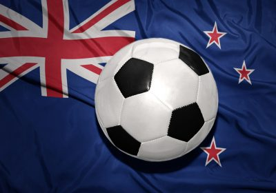 new zealand flag with a football on it
