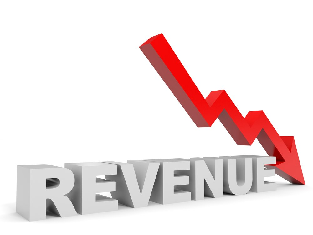 revenue drop red arrow