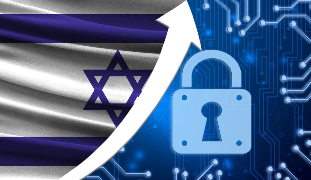 The flag of Israel together with the blue cryptogram and the up arrow with the lock
