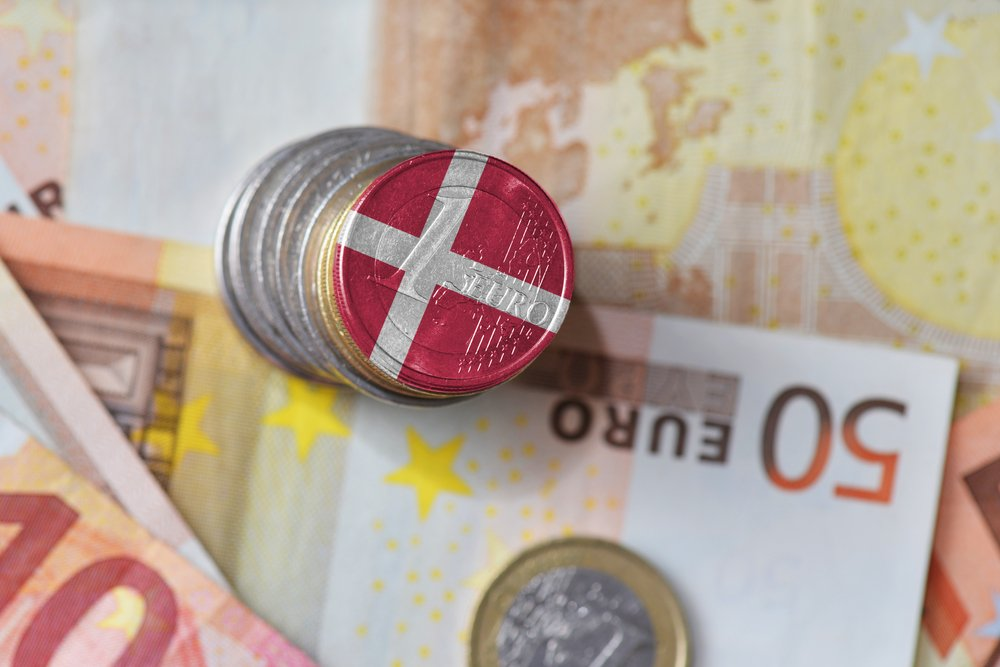 coin with danish flag and euros