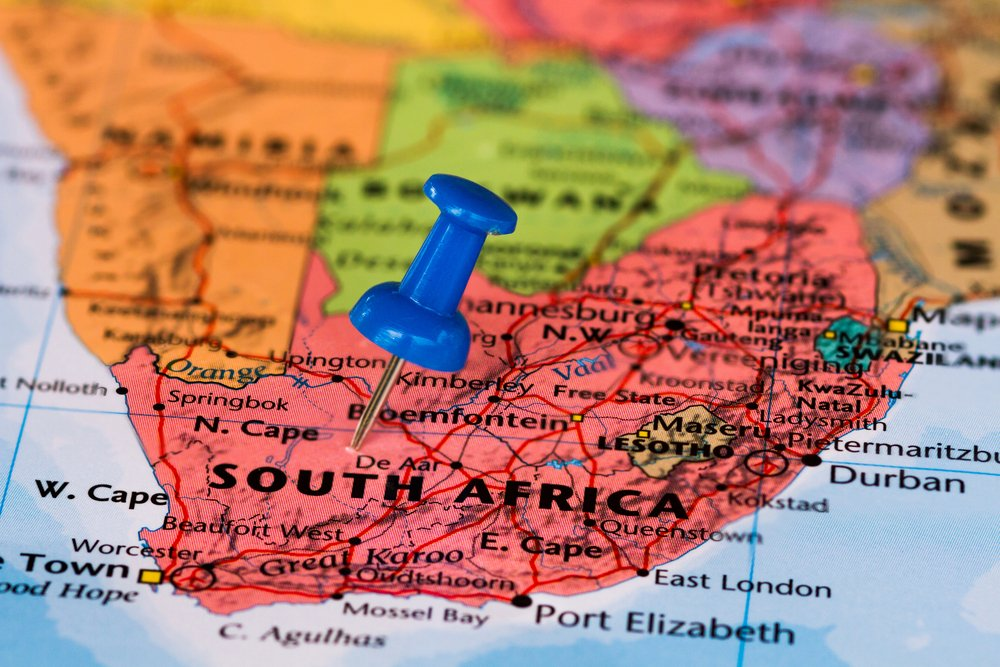 south africa on a map