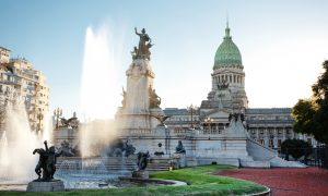 Building of Congress and the fountain in Buenos Aires