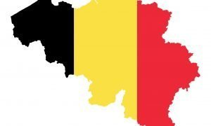 Flag of Belgium in country silhouette